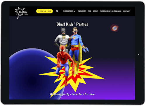 Screenshot of Blast Kids' Parties website on an iPad