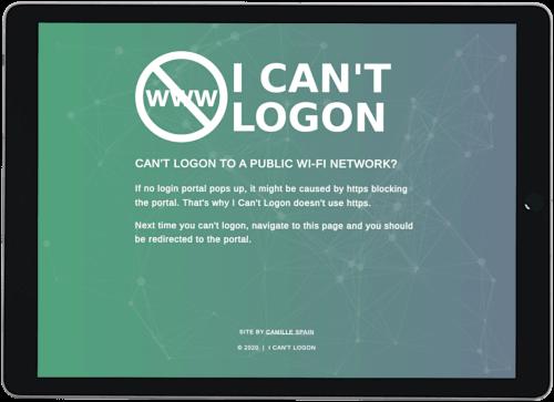 Screenshot of I Can't Logon website on an iPad