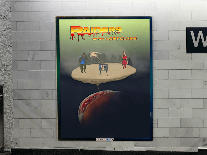 Raiders of the Lost Clam!!! film cover art on display in a subway.