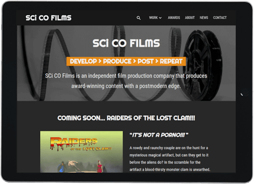 Screenshot of SCi CO Films website on an iPad