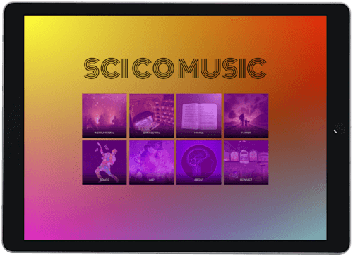 Screenshot of SCi CO Music website on an iPad