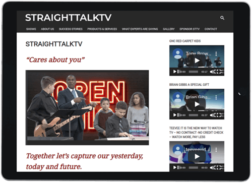Screenshot of Straighttalktv website on an iPad