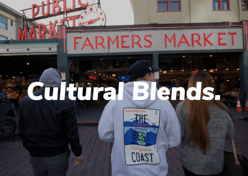 Cultural Blends updated wordmark overlayed on an image of Cultural Blends staff at Pike Place Market.